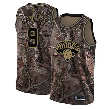 Youth Knicks #9 R.J. Barrett Camo Basketball Swingman Realtree Collection Jersey