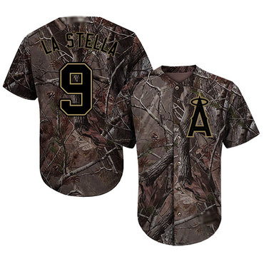 Angels of Anaheim #9 Tommy La Stella Camo Realtree Collection Cool Base Stitched Baseball Jersey
