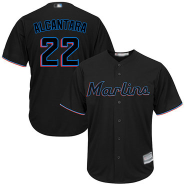 marlins #22 Sandy Alcantara Black New Cool Base Stitched Baseball Jersey
