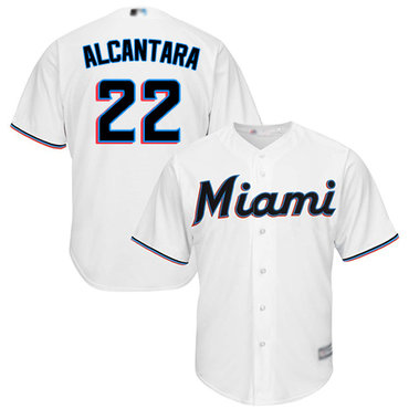 marlins #22 Sandy Alcantara White New Cool Base Stitched Baseball Jersey