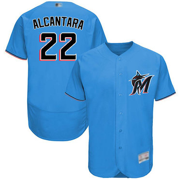 marlins #22 Sandy Alcantara Blue Flexbase Authentic Collection Stitched Baseball Jersey
