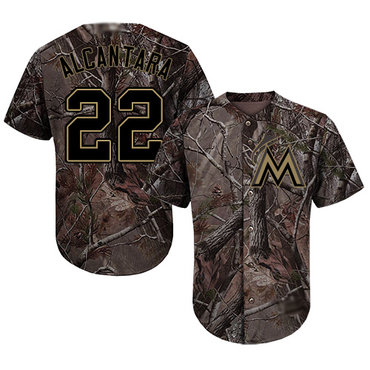 marlins #22 Sandy Alcantara Camo Realtree Collection Cool Base Stitched Baseball Jersey