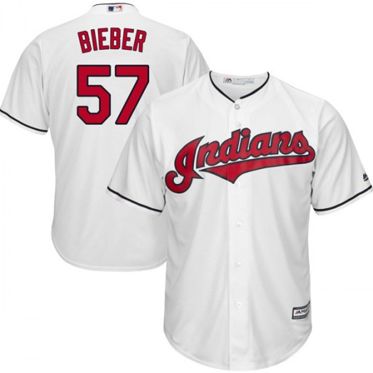 Men's Majestic #57 Shane Bieber Cleveland Indians Replica White Cool Base Home Jersey