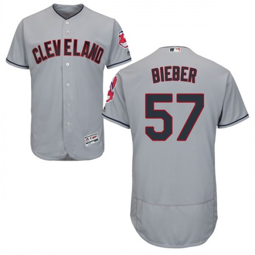 Men's Majestic #57 Shane Bieber Cleveland Indians Authentic Gray Flex Base Road Collection Jersey