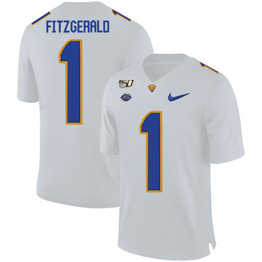 Pittsburgh Panthers 1 Larry Fitzgerald White 150th Anniversary Patch Nike College Football Jersey