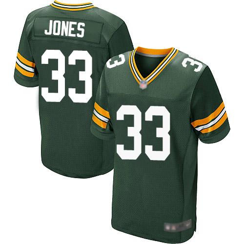 Men's Green Bay Packers #33 Aaron Jones Home Green Elite Football Alternate Jersey