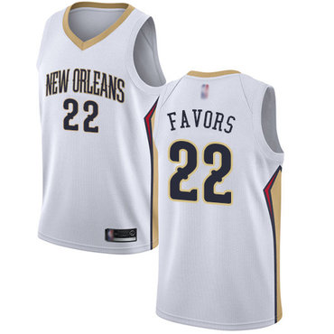 Pelicans #22 Derrick Favors White Basketball Swingman Association Edition Jersey