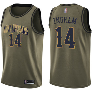 Pelicans #14 Brandon Ingram Green Basketball Swingman Salute to Service Jersey