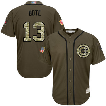 Cubs #13 David Bote Green Salute to Service Stitched Baseball Jersey