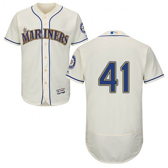 Men's Authentic Seattle Mariners #41 Mike Wright Jr. Majestic Flex Base Alternate Collection Cream Jersey