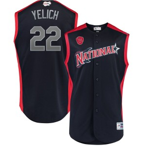 MLB National League 22 Christian Yelich Navy 2019 All-Star Game Men Jersey