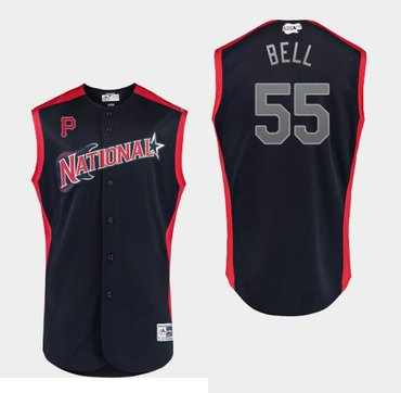 MLB National League Pirates 55 Josh Bell Navy 2019 All-Star Game Men Jersey