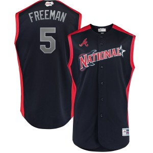 MLB National League 5 Freddie Freeman Navy 2019 All-Star Game Men Jersey