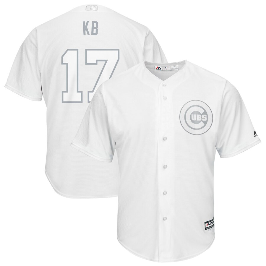 Men's Chicago Cubs 17 Kris Bryant KB White 2019 Players' Weekend Player Jersey