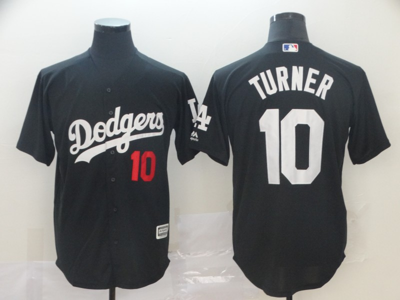 Men's Los Angeles Dodgers 10 Justin Turner Black Turn Back The Clock Cool Base Jersey
