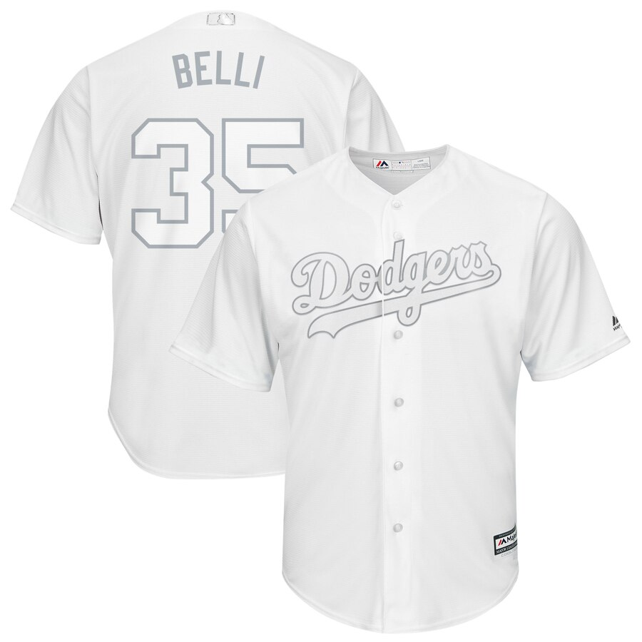 Men's Los Angeles Dodgers 35 Cody Bellinger Belli White 2019 Players' Weekend Player Jersey