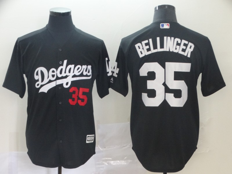 Men's Los Angeles Dodgers 35 Cody Bellinger Black Turn Back The Clock Cool Base Jersey
