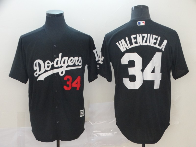 Men's Los Angeles Dodgers 34 Fernando Valenzuela Black Turn Back The Clock Cool Base Jersey