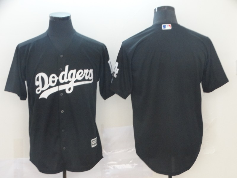 Men's Los Angeles Dodgers Blank Black Turn Back The Clock Cool Base Jersey