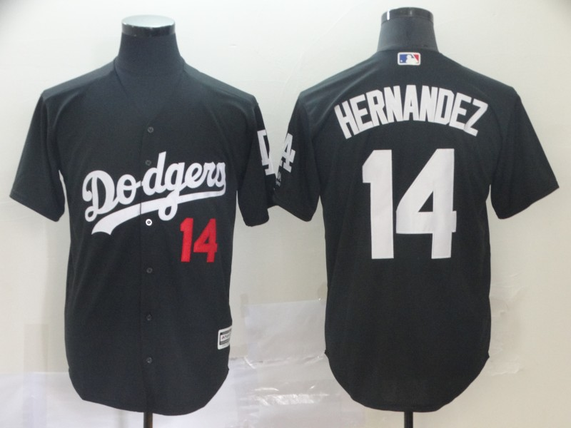 Men's Los Angeles Dodgers 14 Enrique Hernandez Black Turn Back The Clock Cool Base Jersey