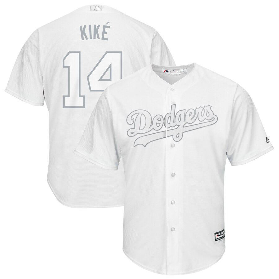 Men's Los Angeles Dodgers 14 Enrique Hernandez Kike White 2019 Players' Weekend Player Jersey