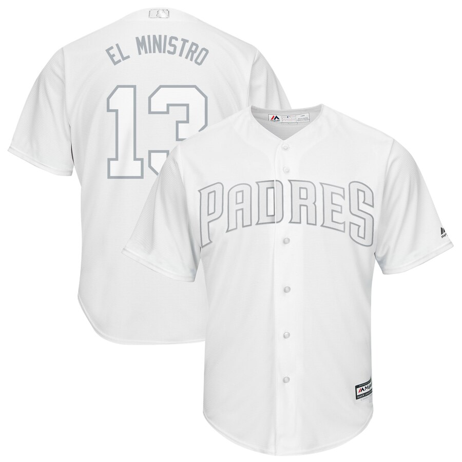 Men's San Diego Padres 13 Manny Machado El Ministro White 2019 Players' Weekend Player Jersey