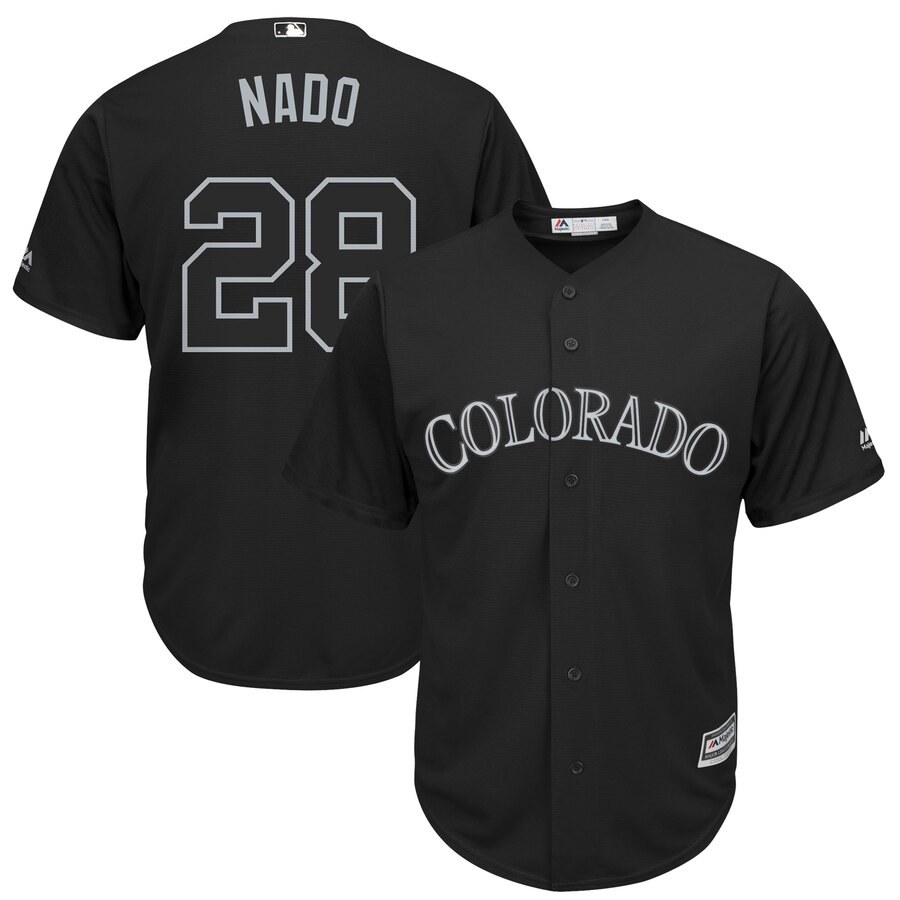 Men's Colorado Rockies 28 Nolan Arenado Nado Black 2019 Players' Weekend Player Jersey