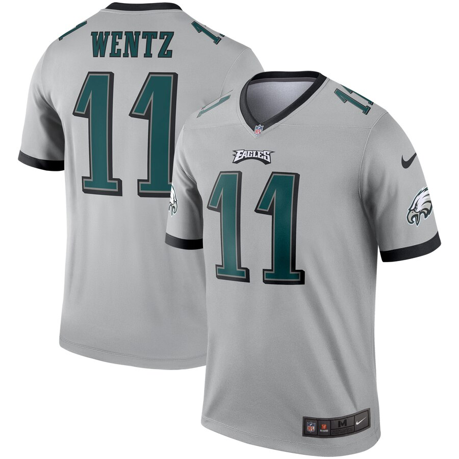 Nike Philadelphia Eagles 11 Carson Wentz Silver Inverted Legend Jersey