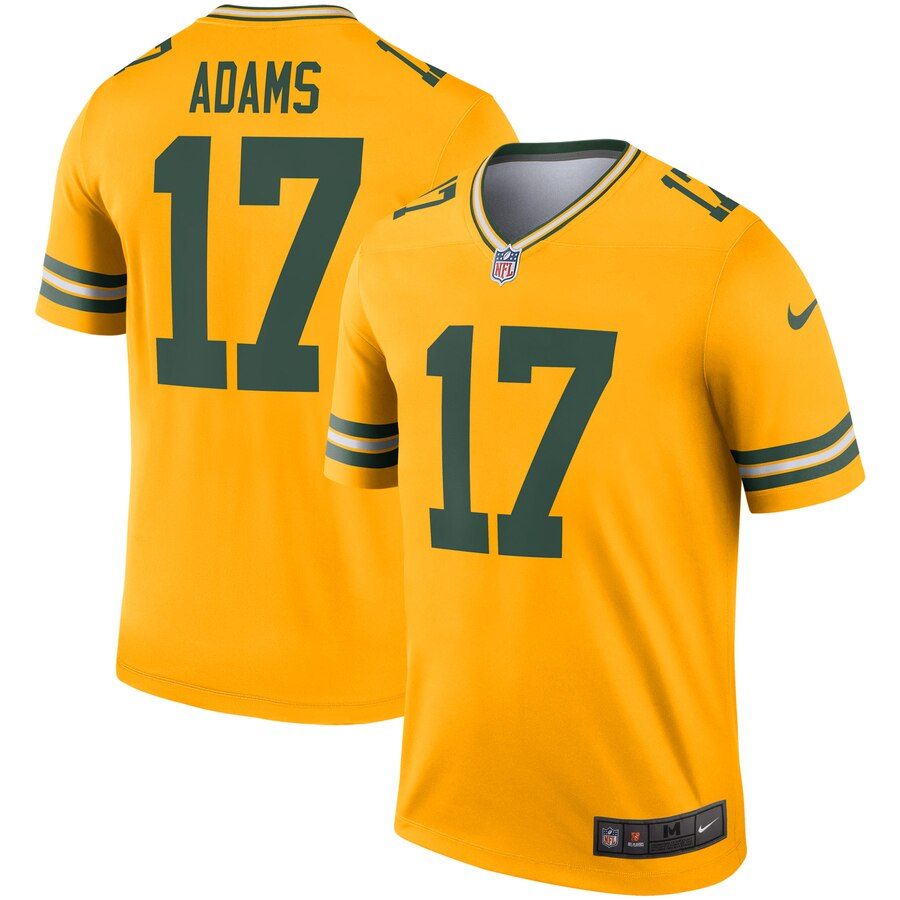 Nike Green Bay Packers 17 Davante Adams Gold Inverted Legend Jersey