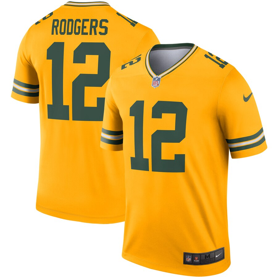 Nike Green Bay Packers 12 Aaron Rodgers Gold Inverted Legend Jersey