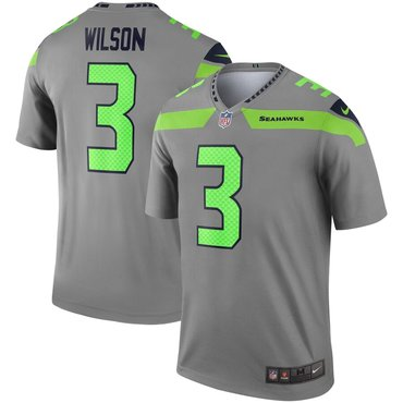 Nike Seattle Seahawks 3 Russell Wilson Gray Inverted Legend Jersey