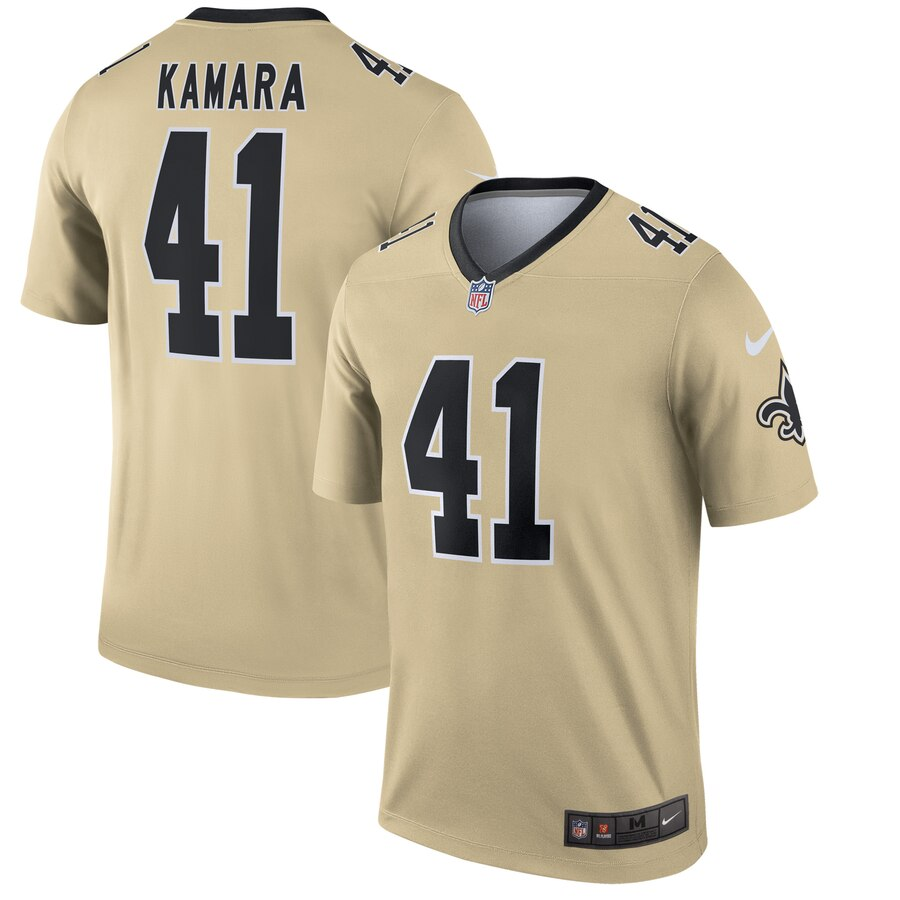 Nike New Orleans Saints 41 Alvin Kamara Cream Inverted Legend Jersey