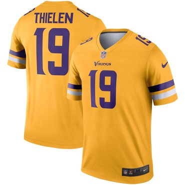 Nike Minnesota Vikings 19 Adam Thielen Gold Inverted Legend Jersey