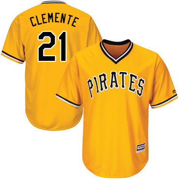 Size 4XL Pirates #21 Roberto Clemente Gold Cool Base Stitched Baseball Jersey