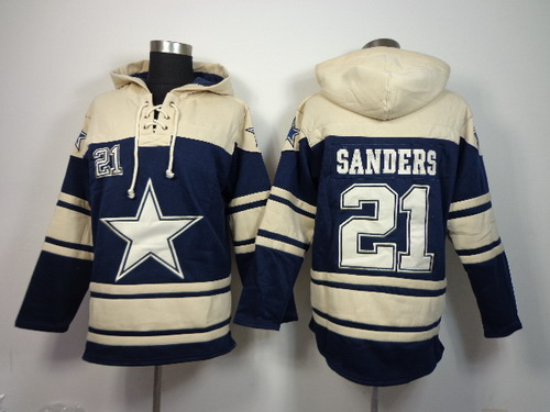 Dallas Cowboys #21 Deion Sanders 2014 Blue Hoodie
