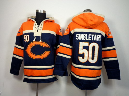 Chicago Bears #50 Mike Singletary 2014 Blue Hoodie