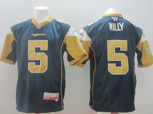 CFL Winnipeg Blue Bombers #5 Drew Willy Navy Blue Jersey