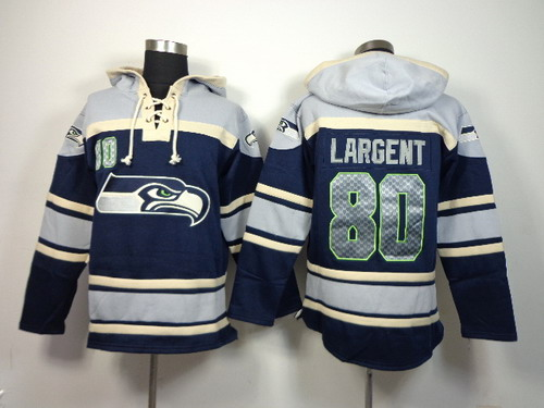 Seattle Seahawks #80 Steve Largent 2014 Navy Blue Hoodie