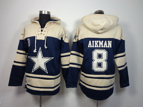 Dallas Cowboys #8 Troy Aikman 2014 Blue Hoodie