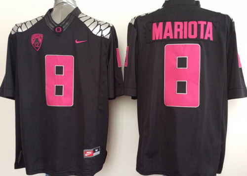 Oregon Duck #8 Marcus Mariota 2014 Black With Purple Limited Jersey