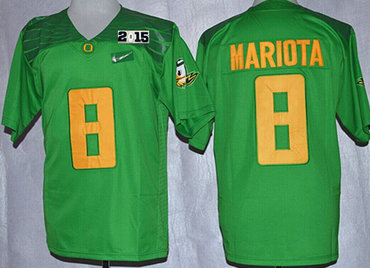 Oregon Duck #8 Marcus Mariota 2015 Playoff Rose Bowl Special Event Diamond Quest Light Green 2015 BCS Patch Jersey