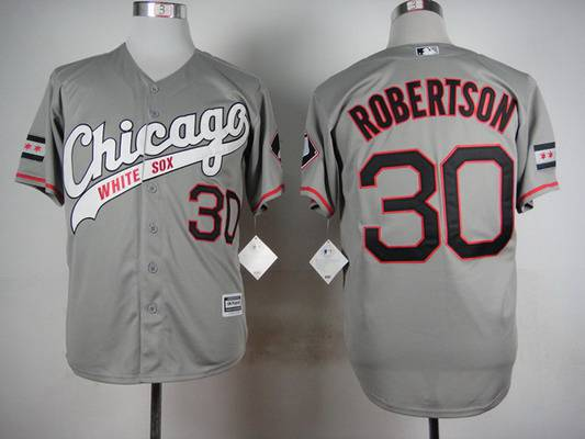Men's Chicago White Sox #30 David Robertson 2015 Gray Jersey