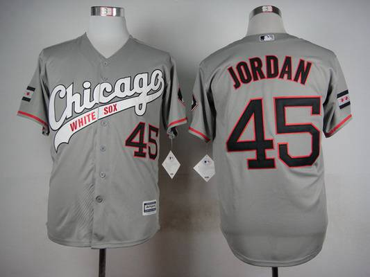 Men's Chicago White Sox #45 Michael Jordan 2015 Gray Jersey