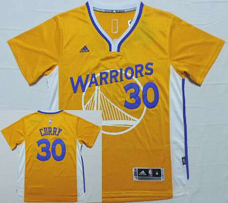 Men's Golden State Warriors #30 Stephen Curry Revolution 30 Swingman 2014 New Yellow Short-Sleeved Jersey