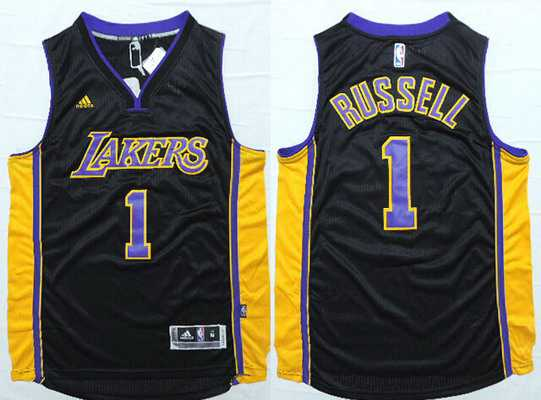 Men's Los Angeles Lakers #1 D'Angelo Russell Revolution 30 Swingman 2015 Draft New Black With Purple Jersey