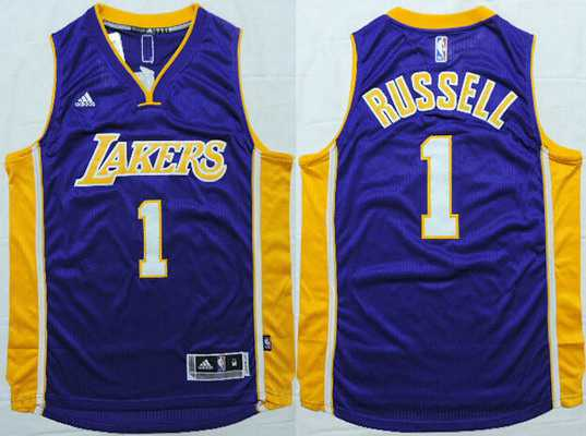Men's Los Angeles Lakers #1 D'Angelo Russell Revolution 30 Swingman 2015 Draft New Purple Jersey