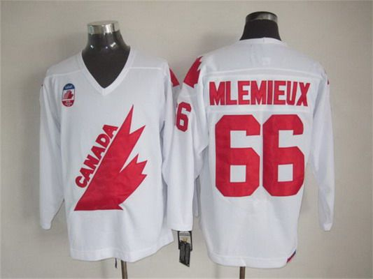 Men's Team Canada #66 Mario Lemieux 1991 Olympic White CCM Vintage Throwback Jersey