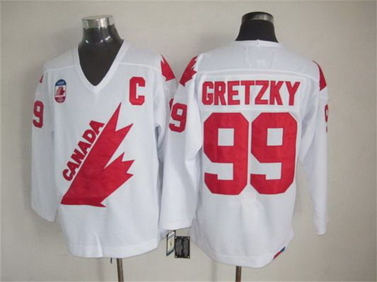Men's Team Canada #99 Wayne Gretzky 1991 Olympic White CCM Vintage Throwback Jersey