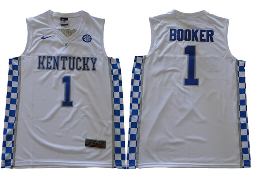 Wildcats #1 Devin Booker White Basketball Elite Stitched NCAA Jersey