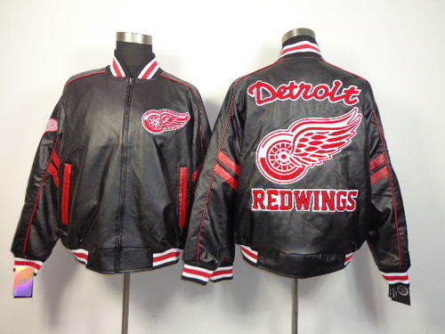 Detroit Red Wings Blank Black Leather Coat